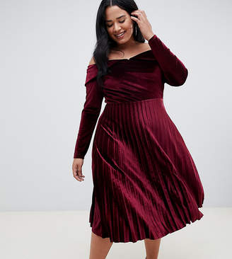 Asos DESIGN Curve pleated velvet bardot midi dress