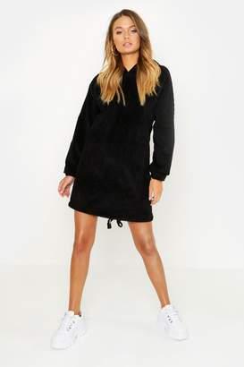 boohoo Oversized Chunky Cord Hooded Dress