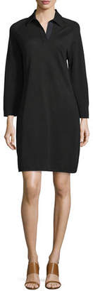 Joan Vass 3/4-Sleeve Shirttail Pique Dress, Plus Size