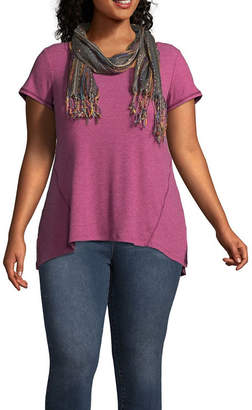Unity World Wear Short Sleeve Tee with Printed Scarf - Plus