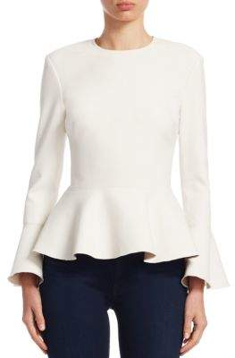 Elizabeth and James Ruthe Bell-Sleeve Scuba Peplum Top