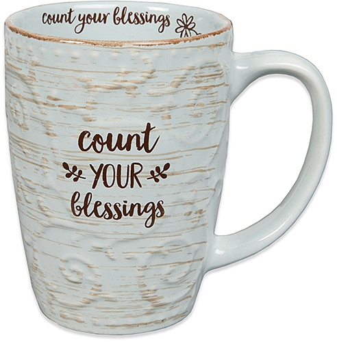 Blue 'Count Your Blessings' Sculpted Ceramic Mug