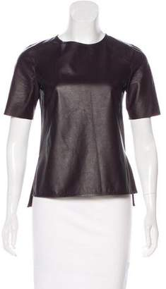 Vince Leather Short Sleeve Top
