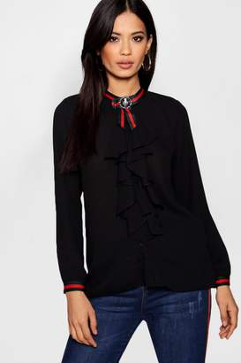 boohoo Lilly Sports Stripe Brooch Ruffle Blouse