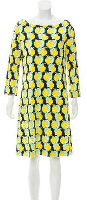 Tory Burch Leaf Print Silk Sleeve Dress