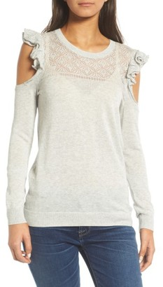 Women's Hinge Ruffle Cold Shoulder Sweater $69 thestylecure.com