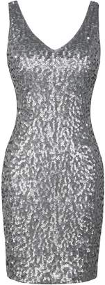 PrettyGuide Women Sexy Deep V Neck Sequin Glitter Bodycon Stretchy Mini Party Dress S