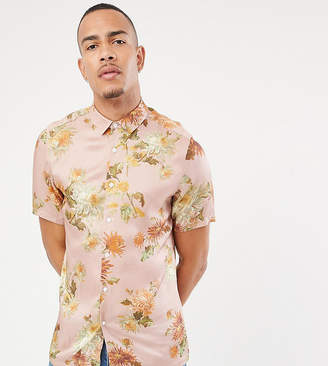 Asos Design DESIGN Tall regular fit floral shirt in pink