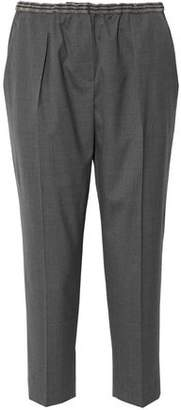 Brunello Cucinelli Cropped Embellished Wool Tapered Pants