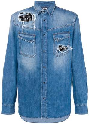 Just Cavalli rhinestone panel denim shirt