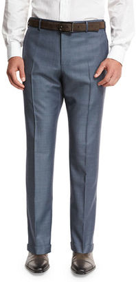 Zanella Super 130s Wool Sharkskin Trousers $425 thestylecure.com