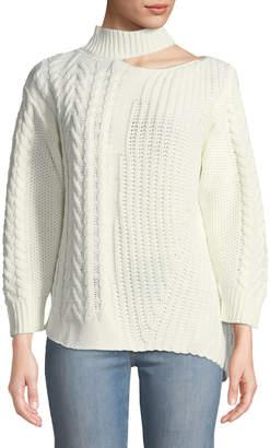 Haute Rogue Cold-Shoulder Asymmetric Cable-Knit Sweater