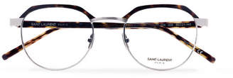 Saint Laurent Round-Frame Tortoiseshell Acetate and Silver-Tone Optical Glasses - Tortoiseshell