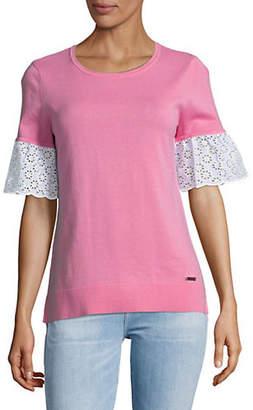 Tommy Hilfiger Eyelet-Sleeve Cotton Sweater