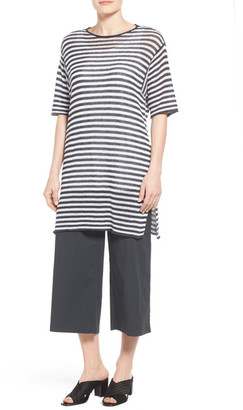 Eileen Fisher Organic Linen Stripe Knit Tunic (Regular & Petite) $188 thestylecure.com