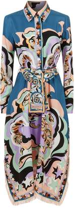 Emilio Pucci Printed Silk Fringed Shirt Dress