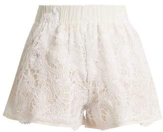 Lila Eugénie Lila Eugenie - 1832 High Rise Cotton And Silk Blend Shorts - Womens - White