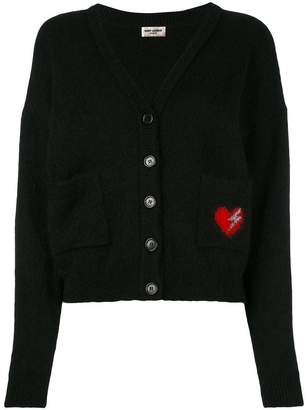Saint Laurent heart embroidered patch cardigan