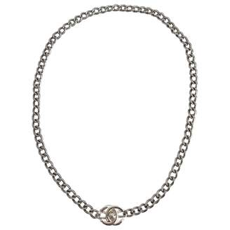 Chanel Vintage Silver Metal Necklace