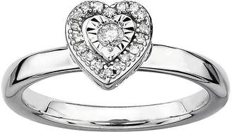 JCPenney FINE JEWELRY Personally Stackable 1/10 CT. T.W. Diamond Sterling Silver Heart Stackable Ring