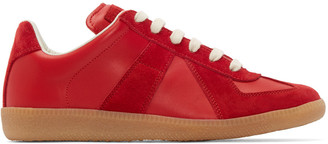 Maison Margiela Red Leather & Suede Replica Sneakers $460 thestylecure.com