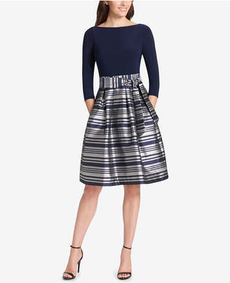 Jessica Howard Metallic-Skirt Fit & Flare Dress