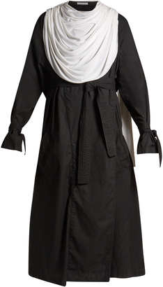 Draped-collar waxed trench coat