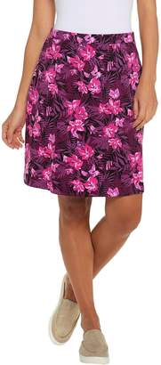 Denim & Co. Floral Print Pull-on Skirt with Pockets