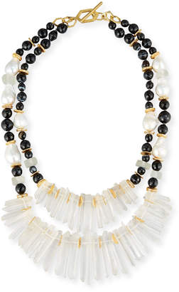 Neiman Marcus Akola Two-Strand Black Agate & Crystal Necklace
