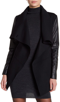 Mackage Mixed Media Drape Front Jacket $590 thestylecure.com
