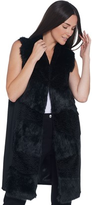 Dennis Basso Madison Avenue Abstract Pieced Faux Fur Vest