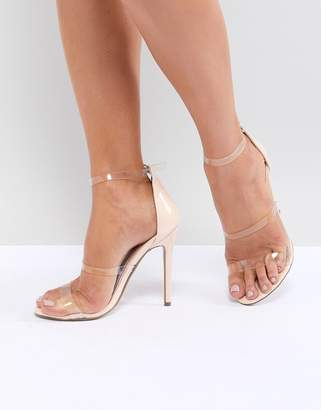 69f4f33e78a Missguided Three Strap Perspex Heeled Sandals