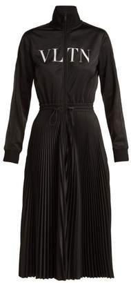 Valentino - Vltn Pleated Jersey Midi Dress - Womens - Black