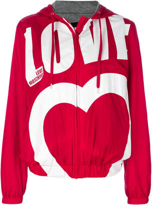 Love Moschino Love print bomber jacket