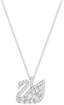 Swarovski Silver-Tone Pave Swan Pendant Necklace