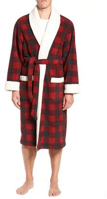 Nordstrom Plaid Fleece Robe with Faux Shearling Lining