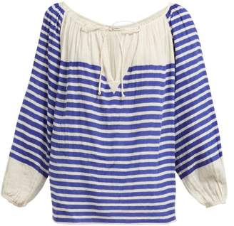Mes Demoiselles Bretonne Striped Cotton Blouse - Womens - Blue Stripe
