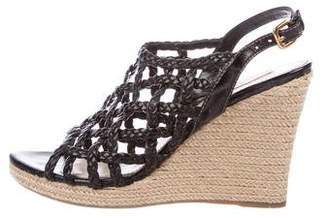 Prada Sport Leather Woven Wedge Sandals