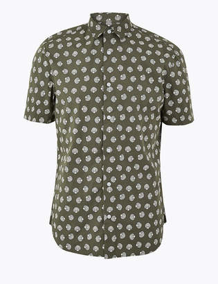 M&S CollectionMarks and Spencer Pure Cotton Shell Print Shirt
