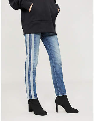 Hudson Nico striped-panel skinny high-rise jeans