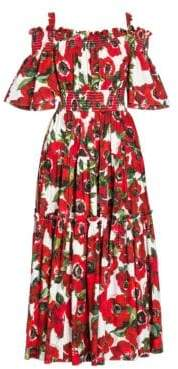 Dolce & Gabbana Dolce& Gabbana Dolce& Gabbana Women's Smocked Cold-Shoulder Midi Fit-And-Flare Dress - Red Floral - Size 38 (2)