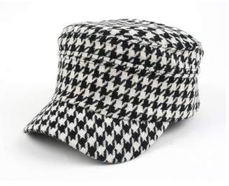 c4285b129392a0 Pop Fashionwear Inc Women's Hounds Tooth Checked Military Cadet Style Hat  305HT
