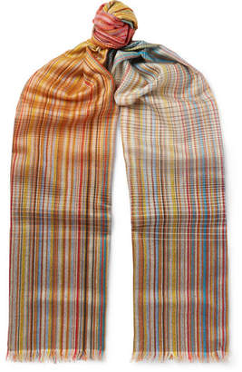 Paul Smith Striped Wool and Silk-Blend Scarf - Multi