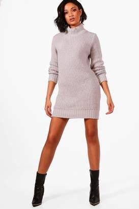 boohoo Turtle Neck Soft Knit Jumper Dress