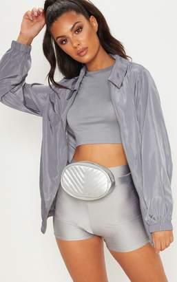 PrettyLittleThing Grey Oversized Shell Suit Jacket