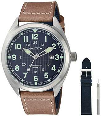 Nautica Men's 'Battery Park' Quartz Stainless Steel and Leather Casual Watch