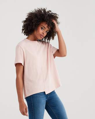 7 For All Mankind Short Sleeve Splice Crop Tee in Pink Sunrise