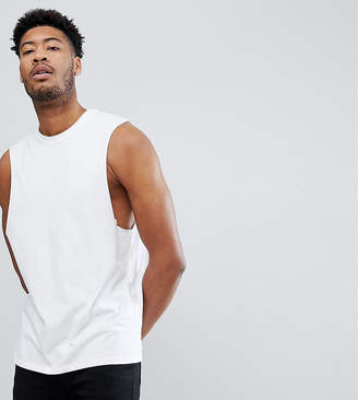 Asos Design DESIGN relaxed sleeveless t-shirt with dropped armhole in white