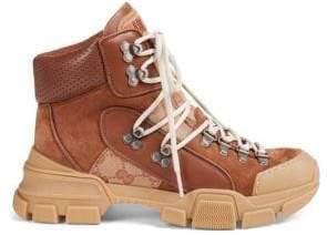 Gucci Leather& Original GG Trekking Boots
