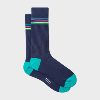 Men's 'Cycle Stripe' Trim Navy Ribbed Socks $30 thestylecure.com